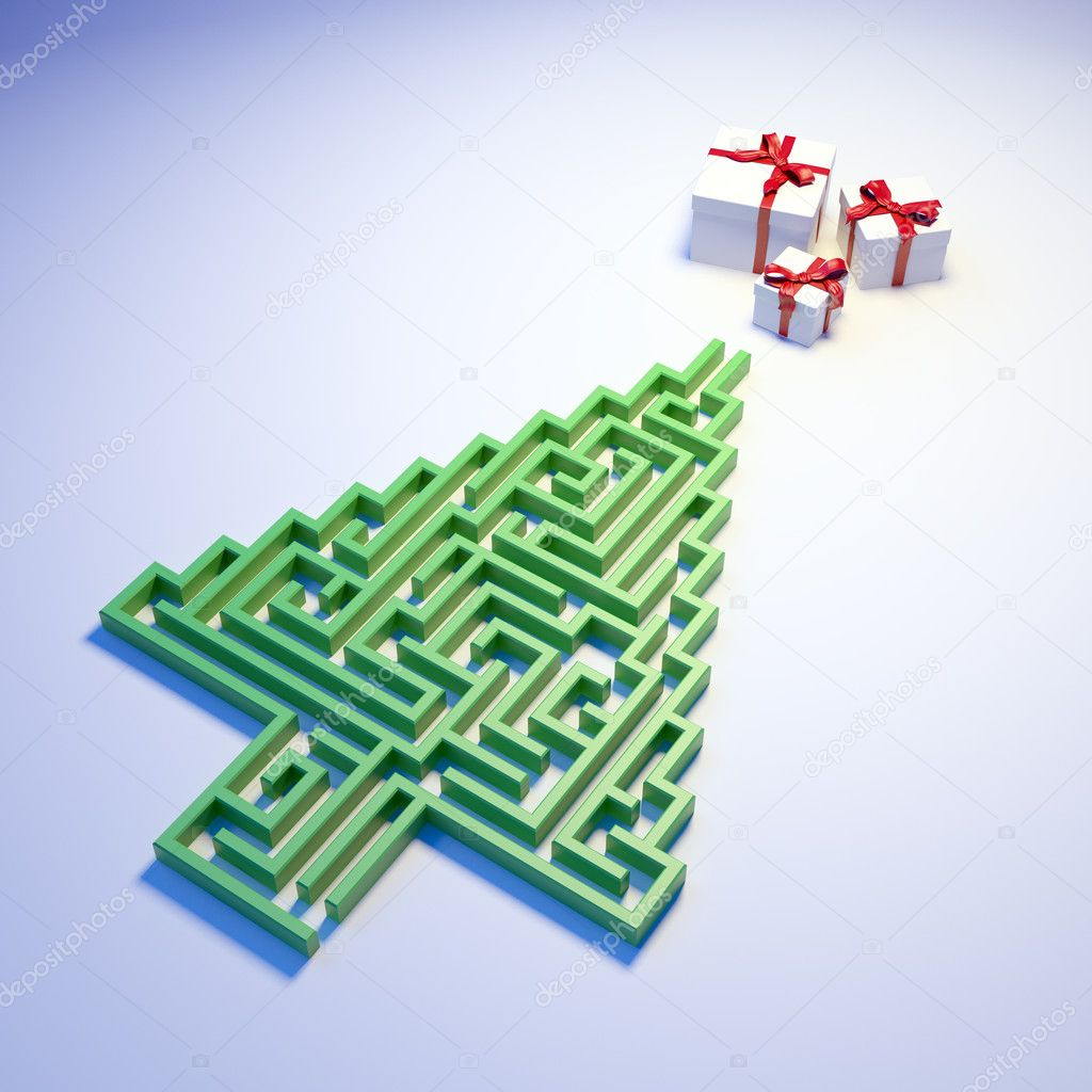 depositphotos 8019872 stock photo christmas tree shaped maze leading